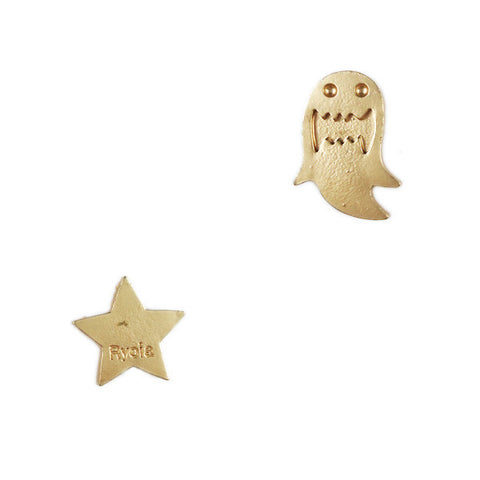 Ghost and Star Stud Earrings