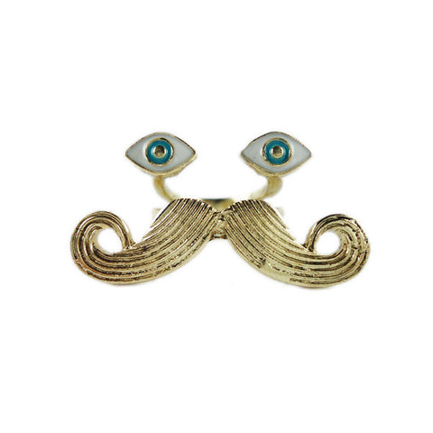 Eyes and Moustache Ring