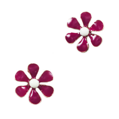 Simple Pink Flower Stud Earrings