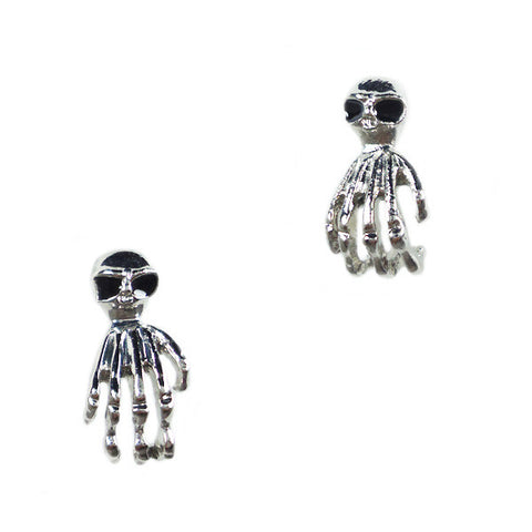 Skull and Skeleton Hand Stud Earrings