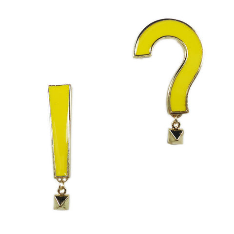 Exclamation and Question Mark Supersize Stud Earrings