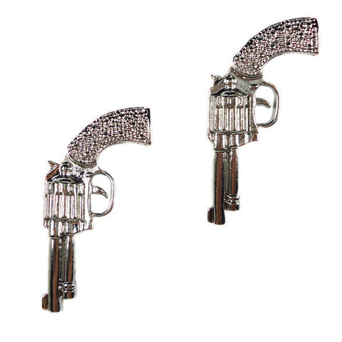 Supersize Silver Gun Stud Earrings