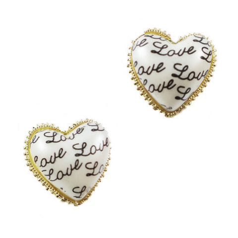 Love Written Heart Stud Earrings