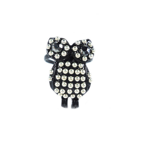 Punk Black Owl Ring