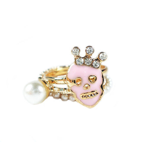 Skull Pearl Triple Rings