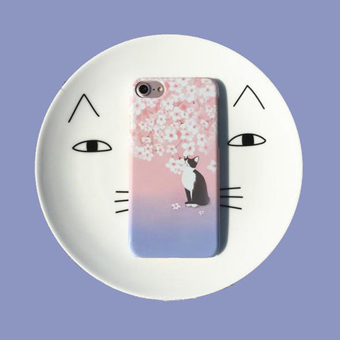 Tuxedo Cat under Pink Sakura Tree Phone Case