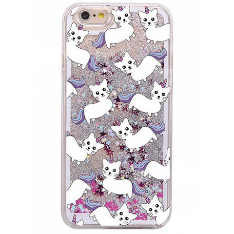 Glitter Waterfall Phone Case - Unicorn Cat - Silver