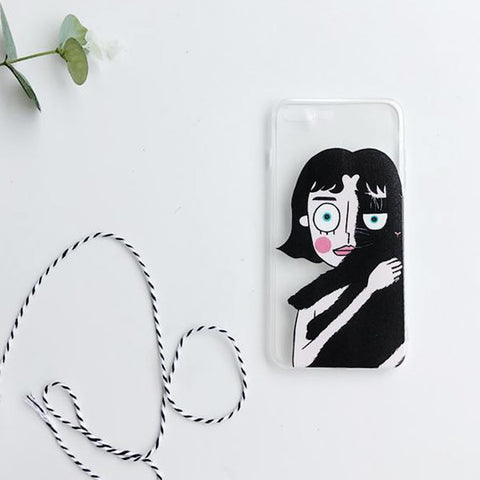 Half Half Cat Lady (Clear) Phone Case