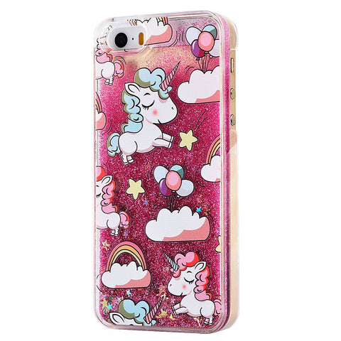 Glitter Waterfall Phone Case - Unicorn over Rainow - Pink