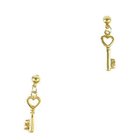 Heart Key Stud Earrings