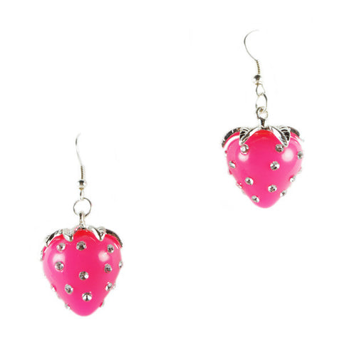 Pink Strawberry 3D Dangling Earrings
