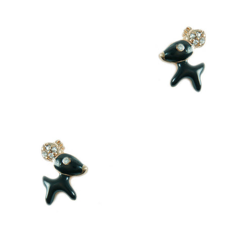 Black Deer Stud Earrings