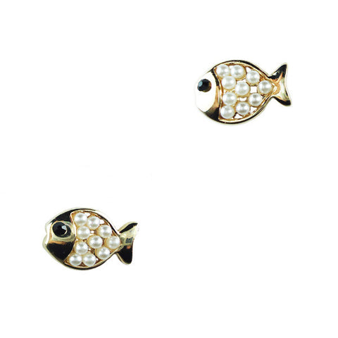 Pearly Fish Stud Earrings