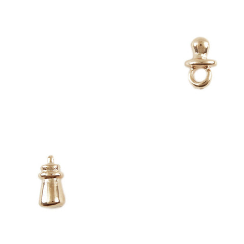 Mini Golden Baby Dummy and Bottle Stud Earrings