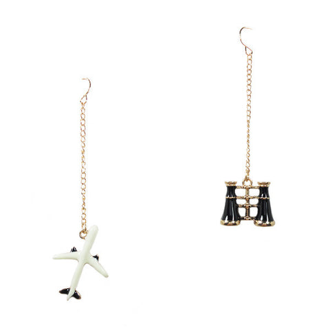 Airplane and Telescope Earrings