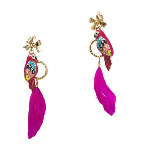 Pink Parrot with Feather Earrings