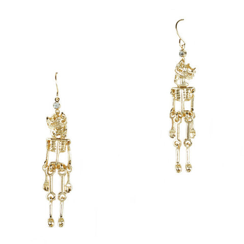 Dangling Skeleton King Earrings