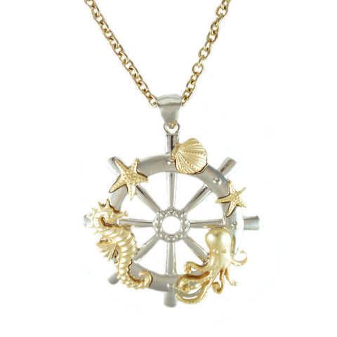 Ocean and Ship Wheel Necklace