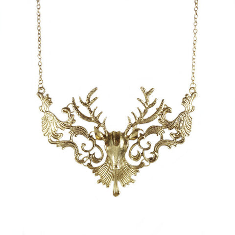 Baroque Stag Head Necklace