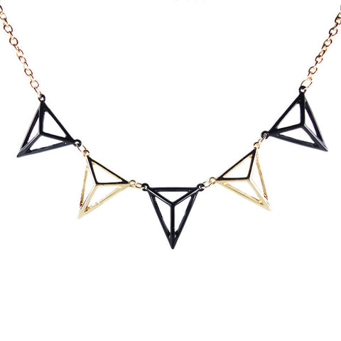 Multi-Pyramid Cutout Necklace