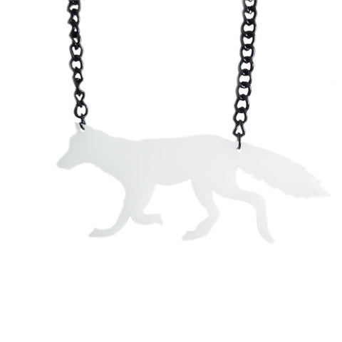 Snow Fox Laser-Cut Necklace