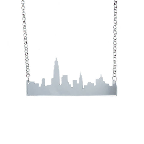 Skyline Laser-Cut Mirror Necklace