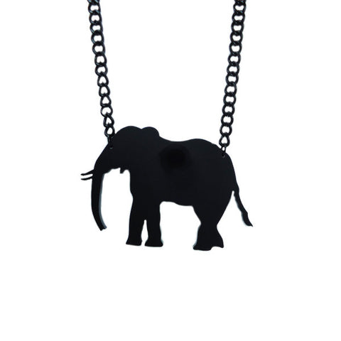 Black Elephant Laser-Cut Necklace