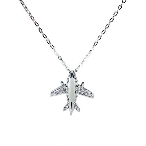 Diamond Wings Airplane Necklace