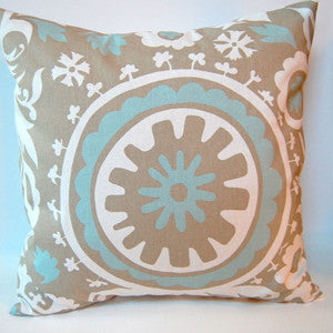 SUZANI Accent Pillow: Blue and Taupe on White