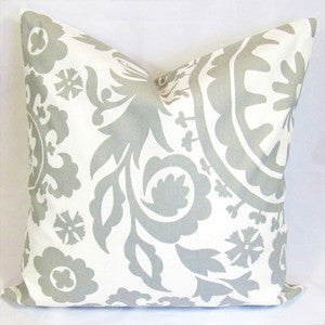 SUZANI Accent Pillow: Storm Grey on White