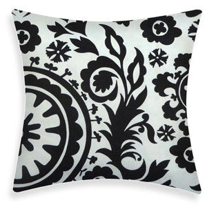 SUZANI Accent Pillow: Black on White