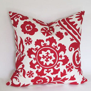 SUZANI Accent Pillow: Red on White
