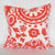 SUZANI Accent Pillow: Coral on White