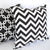 CHEVRON Zigzag Pillow: Black on White