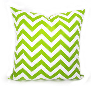 CHEVRON Zigzag Pillow: Chartreuse on White