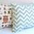 CHEVRON Zigzag Pillow: Spa Blue on White