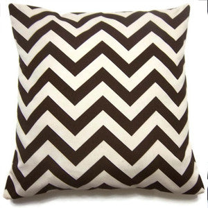 CHEVRON Zigzag Pillow: Brown on Ivory
