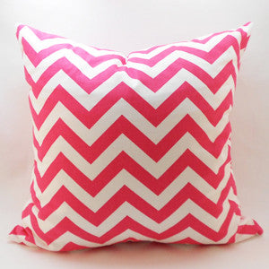 CHEVRON Zigzag Pillow: Pink on White