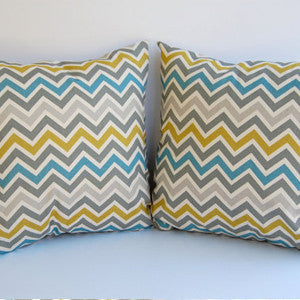 CHEVRON Zigzag Pillow: Grey Citrine