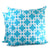 Chain Link Pillow: White on Aqua