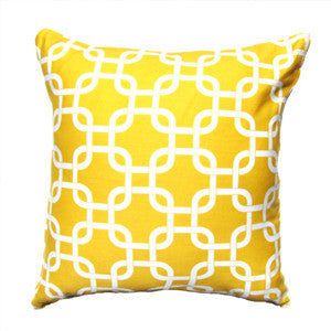 Chain Link Pillow: White on Yellow