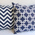 Chain Link Pillow: White on Navy