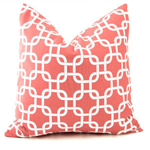 Chain Link Pillow: White on Pink
