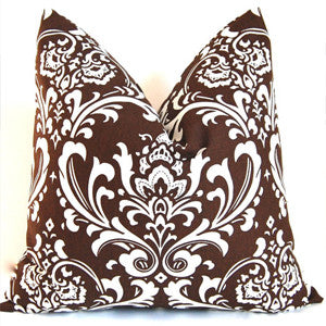 DAMASK Pillow: White on Brown