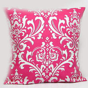 DAMASK Pillow: White on Pink