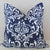 DAMASK Pillow: White on Navy