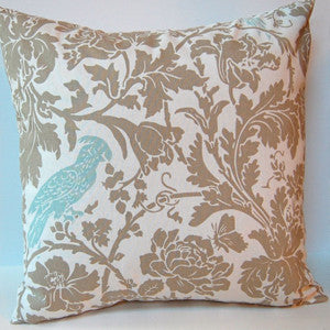 Barber Bird Pillow: Blue on Taupe