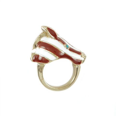 Zebra Head 3D Ring