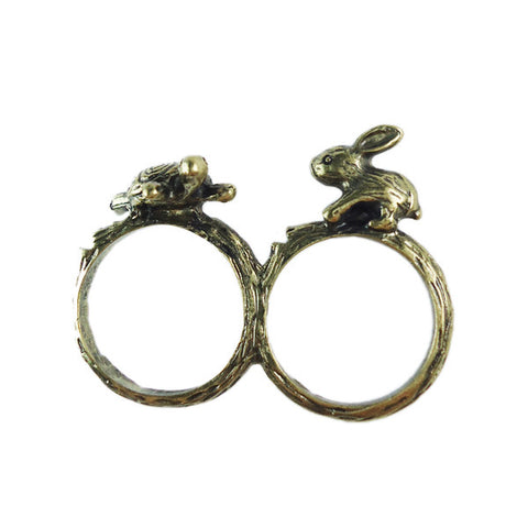 Tortoise and Hare Two-Finger Ring