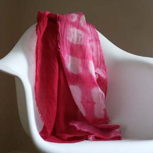 Hand Dyed Gauze Scarf: Bright Pink